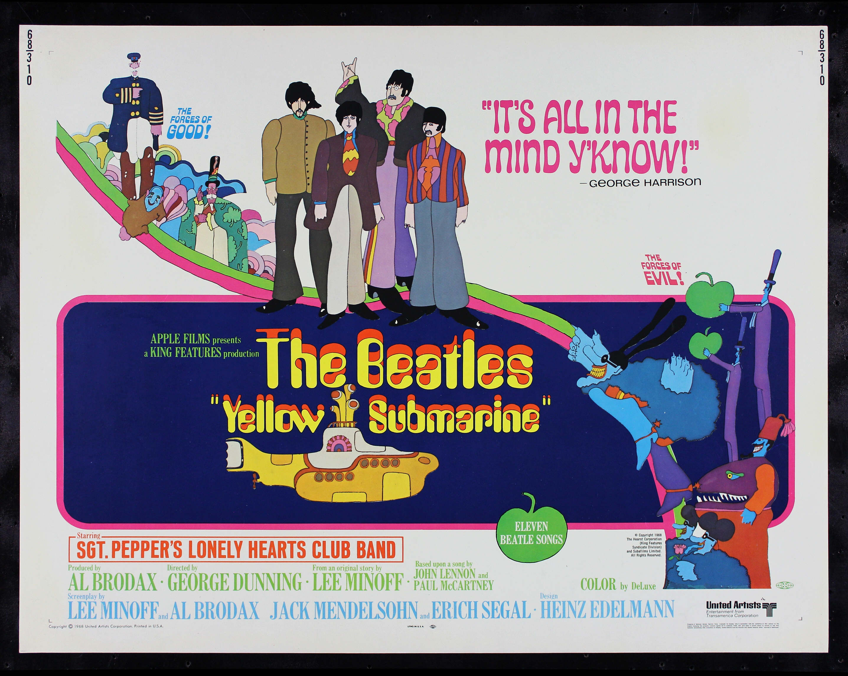YELLOW SUBMARINE * CineMasterpieces RARE ORIGINAL MOVIE ...
