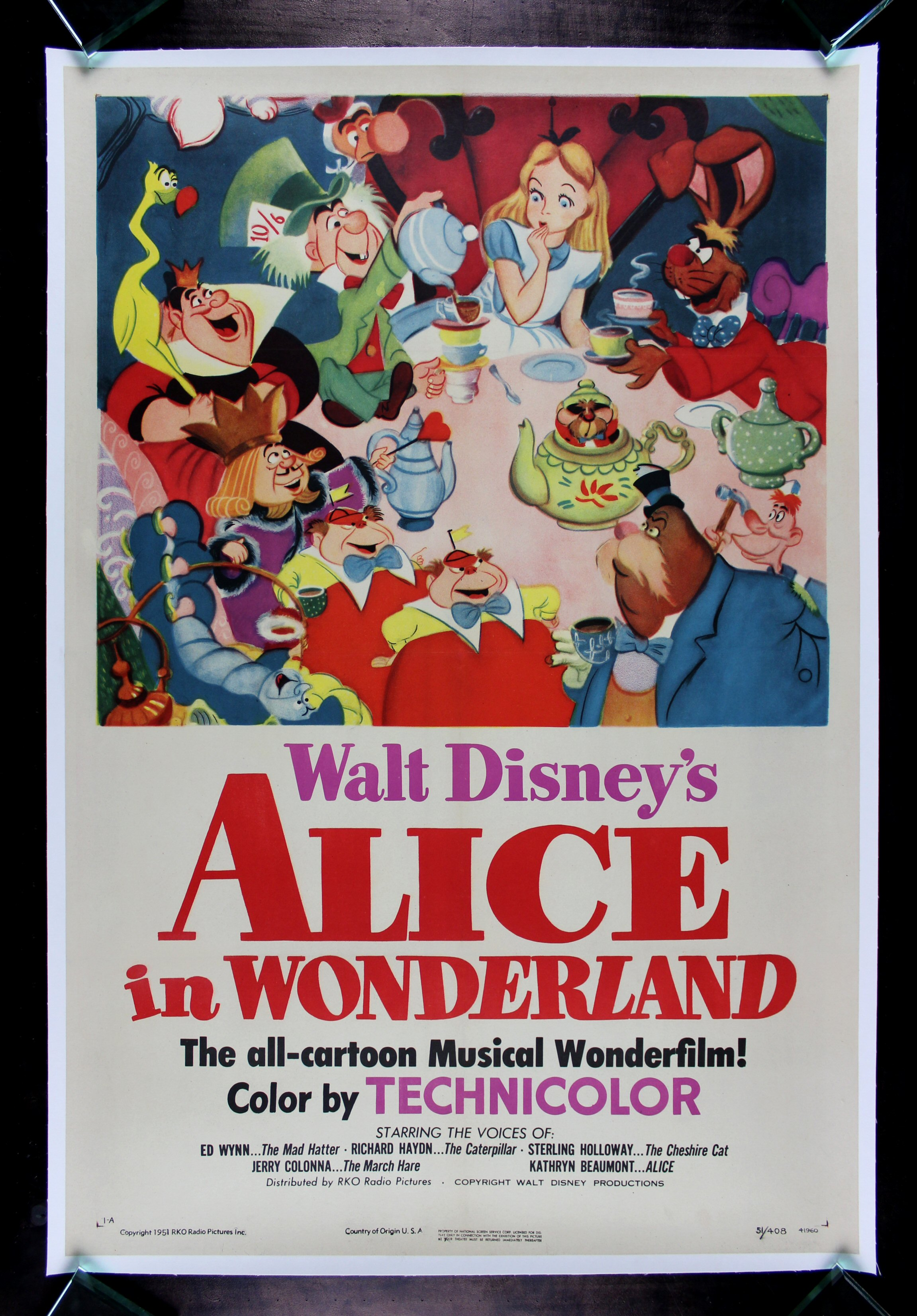 ALICE IN WONDERLAND * CineMasterpieces ORIGINAL 1951 ...