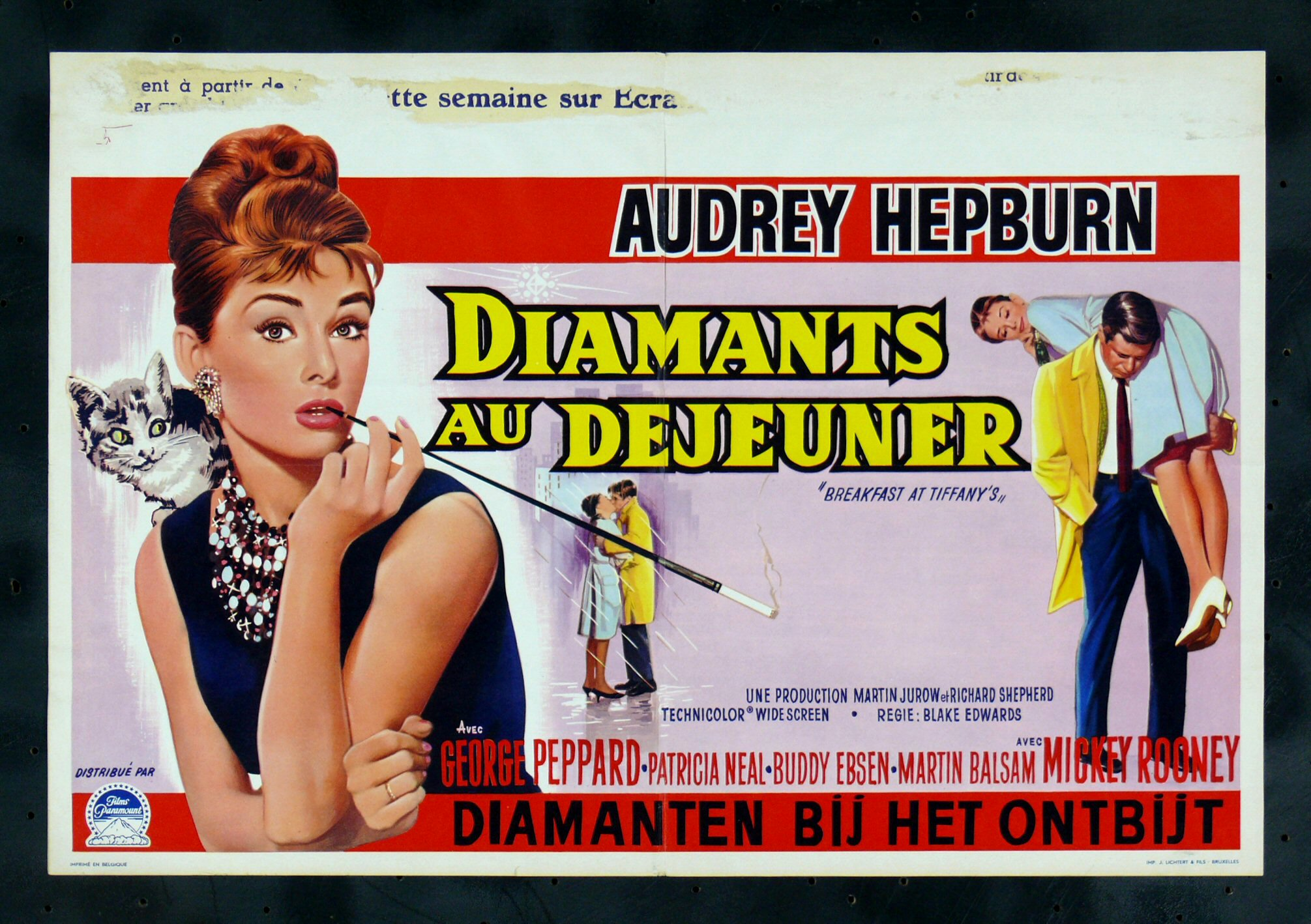 breakfast at tiffanys cinemasterpieces belgium movie poster audrey hepburn 39 61 ebay. Black Bedroom Furniture Sets. Home Design Ideas