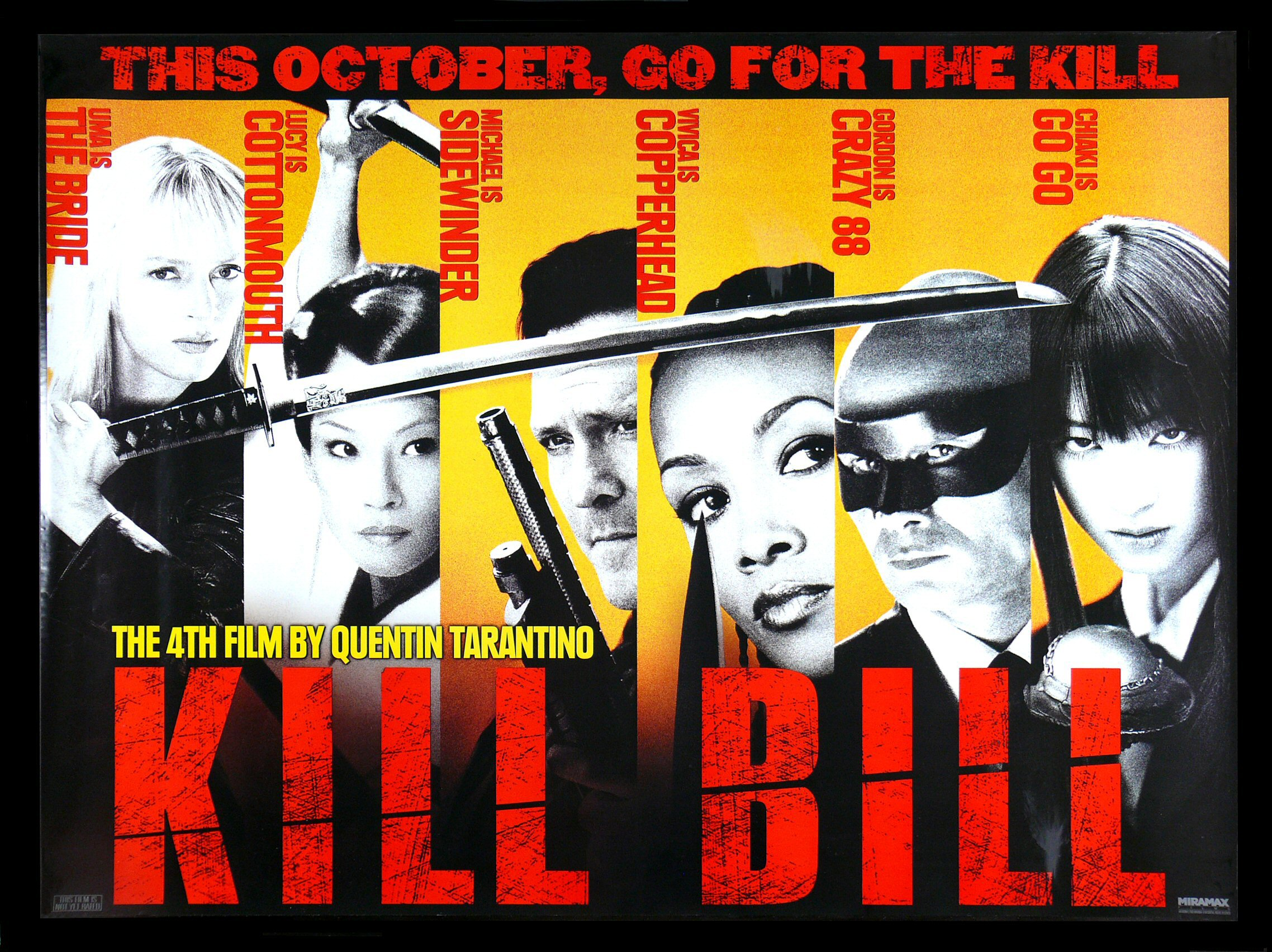 Movie Posters 2003: KILL BILL * CineMasterpieces ORIGINAL SUBWAY MOVIE POSTER