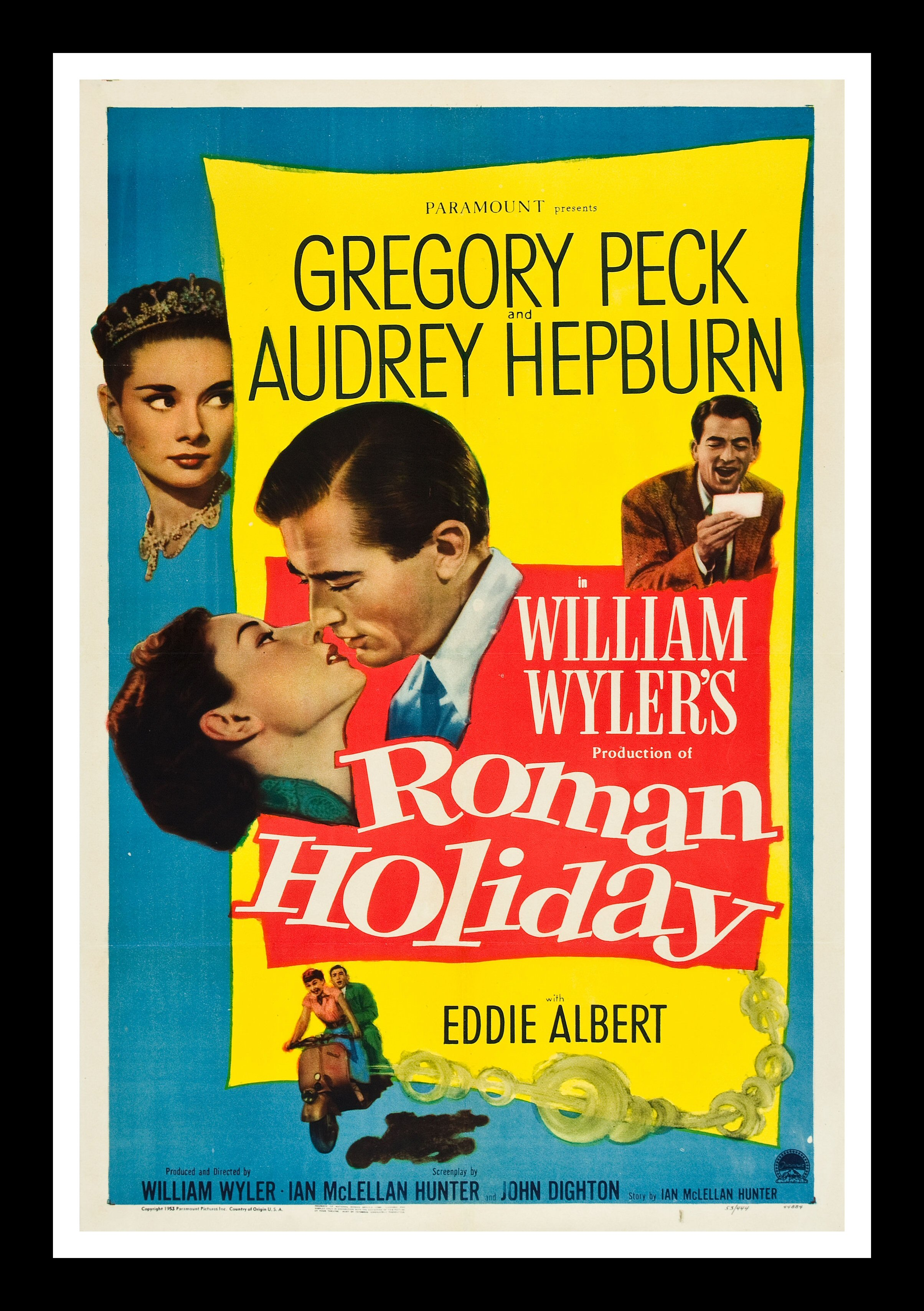 roman holiday cinemasterpieces original 1953 audrey hepburn movie poster ebay. Black Bedroom Furniture Sets. Home Design Ideas