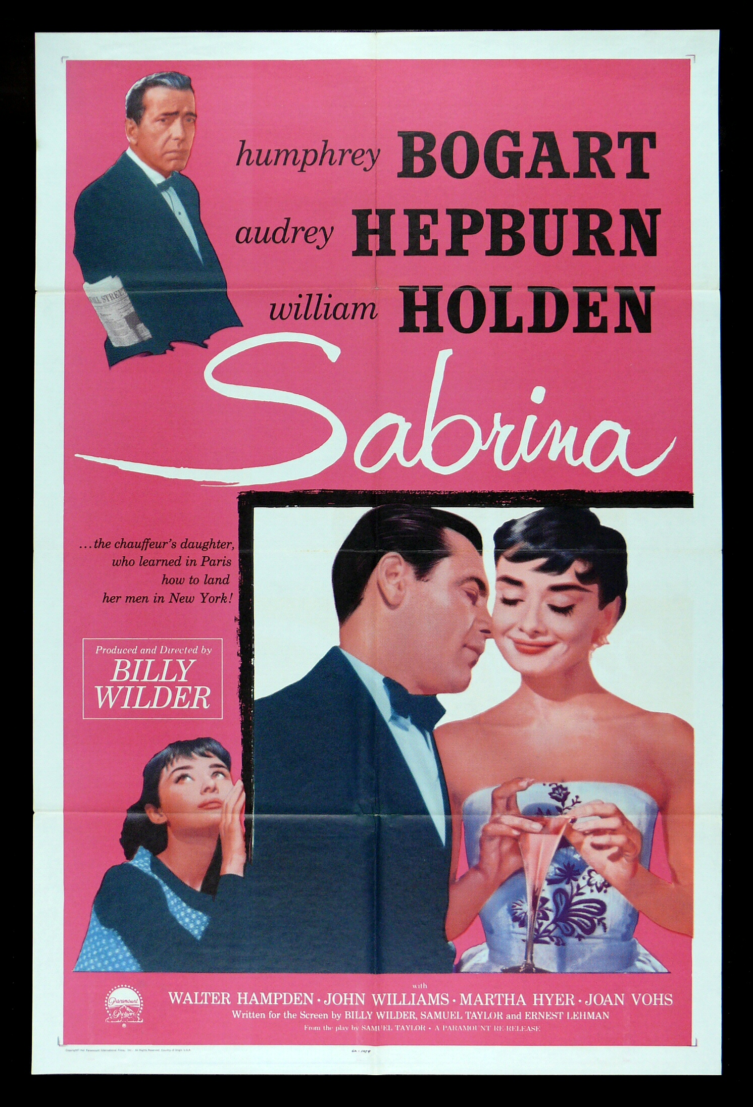 sabrina cinemasterpieces humphrey bogart audrey hepburn movie poster pink 1962 ebay. Black Bedroom Furniture Sets. Home Design Ideas