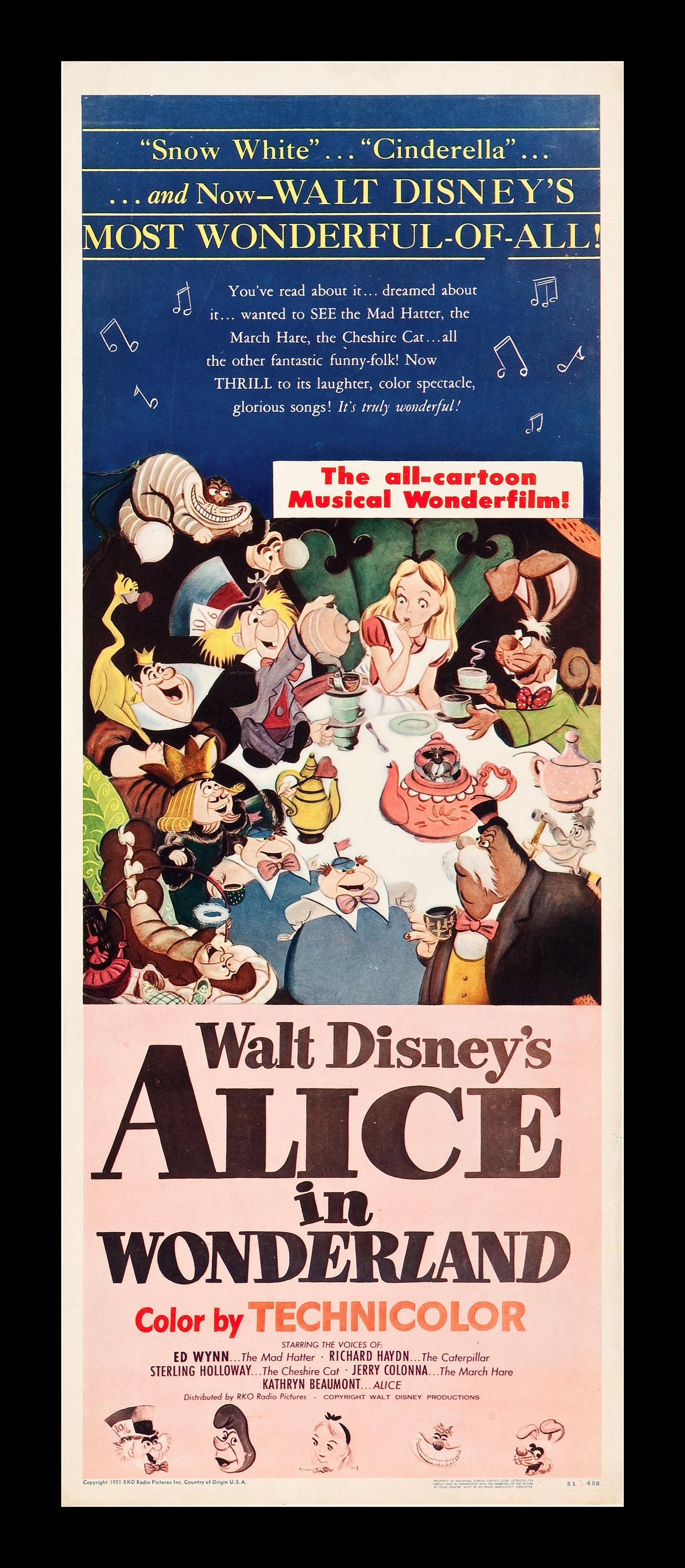 ... ALICE IN WONDERLAND * CineMasterpiec es ORIGINAL 1951 MOVIE POSTER