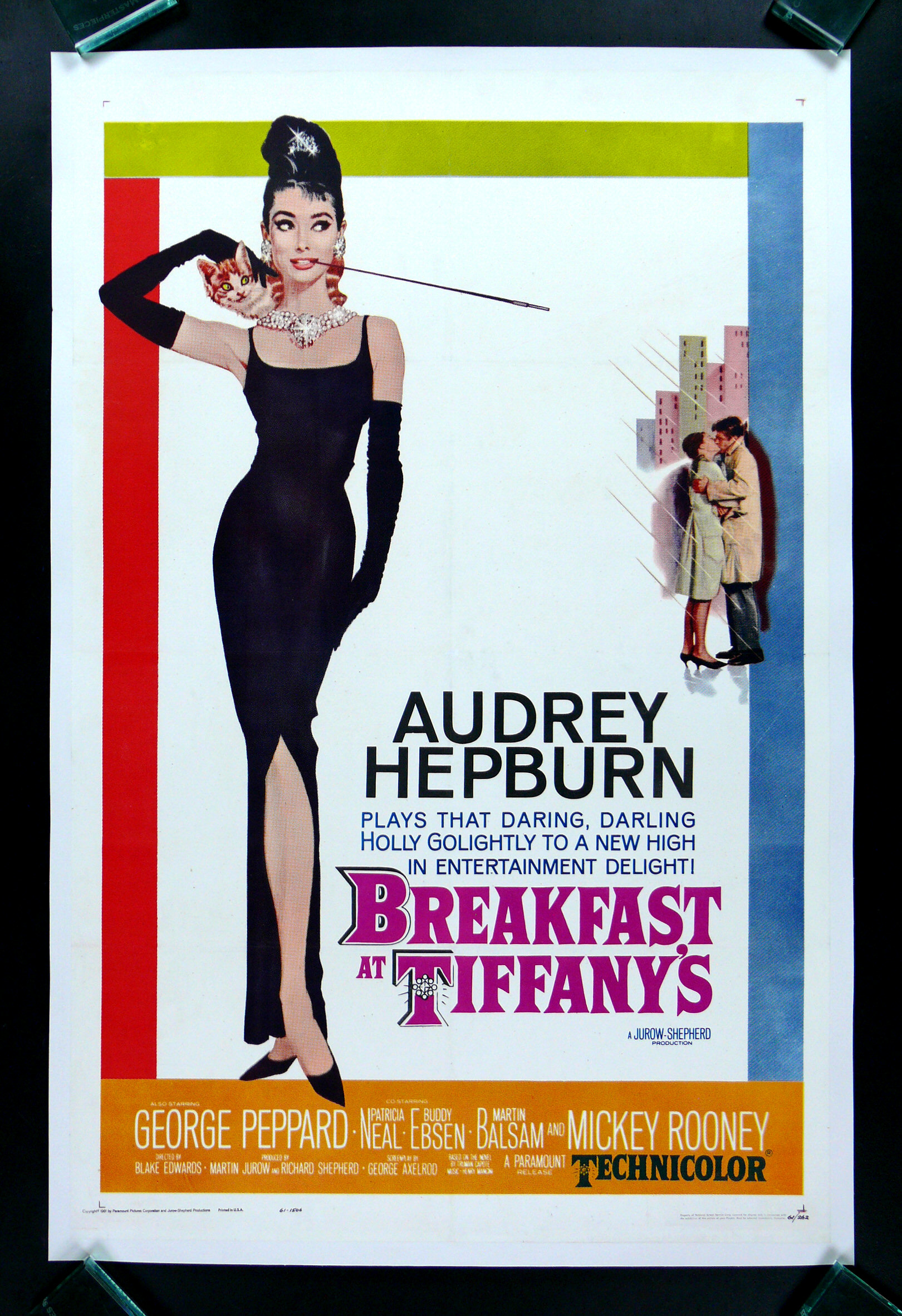 breakfast at tiffanys cinemasterpieces original movie poster audrey hepburn ebay. Black Bedroom Furniture Sets. Home Design Ideas