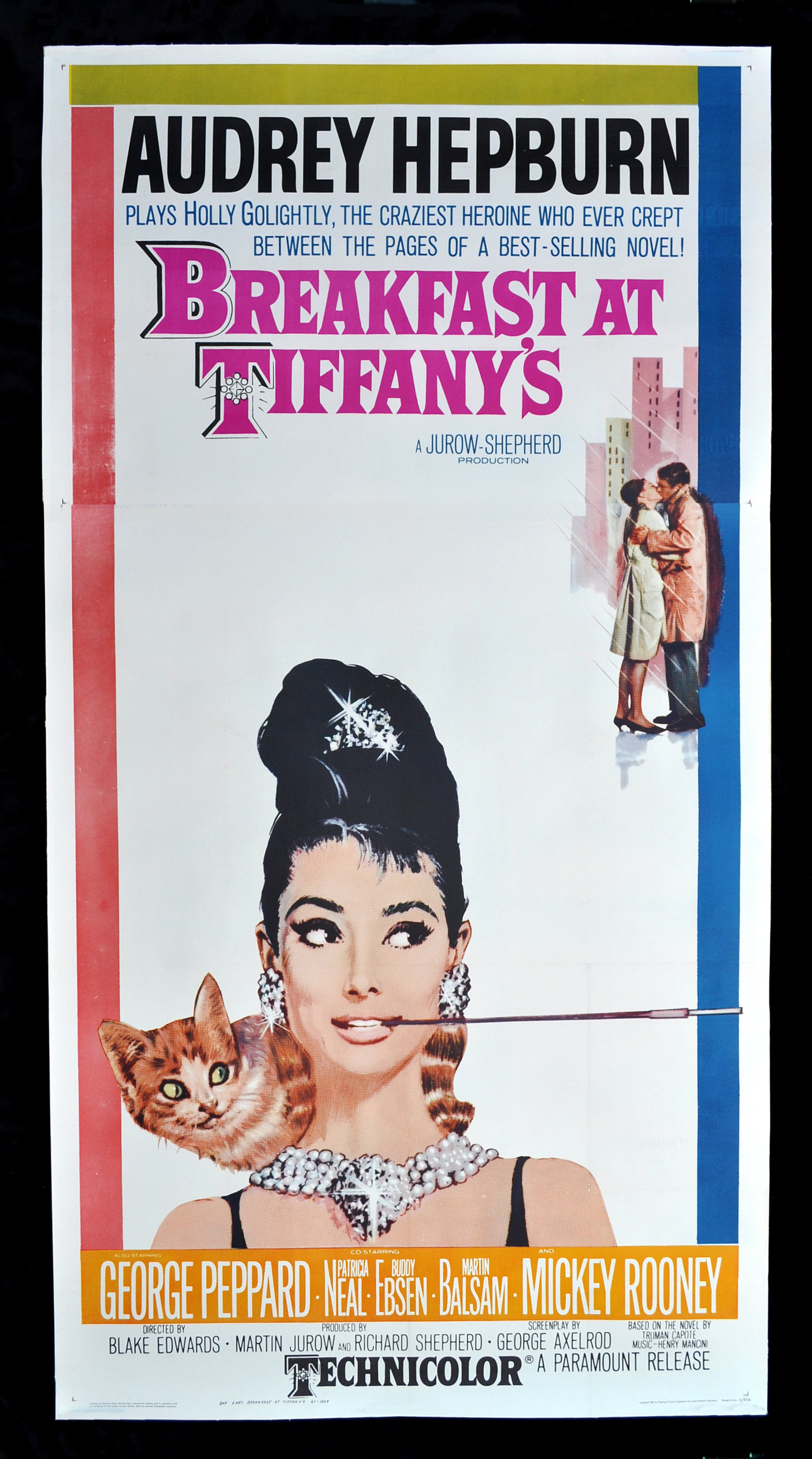 breakfast at tiffanys cinemasterpieces rare movie poster 1961 audrey hepburn ebay. Black Bedroom Furniture Sets. Home Design Ideas