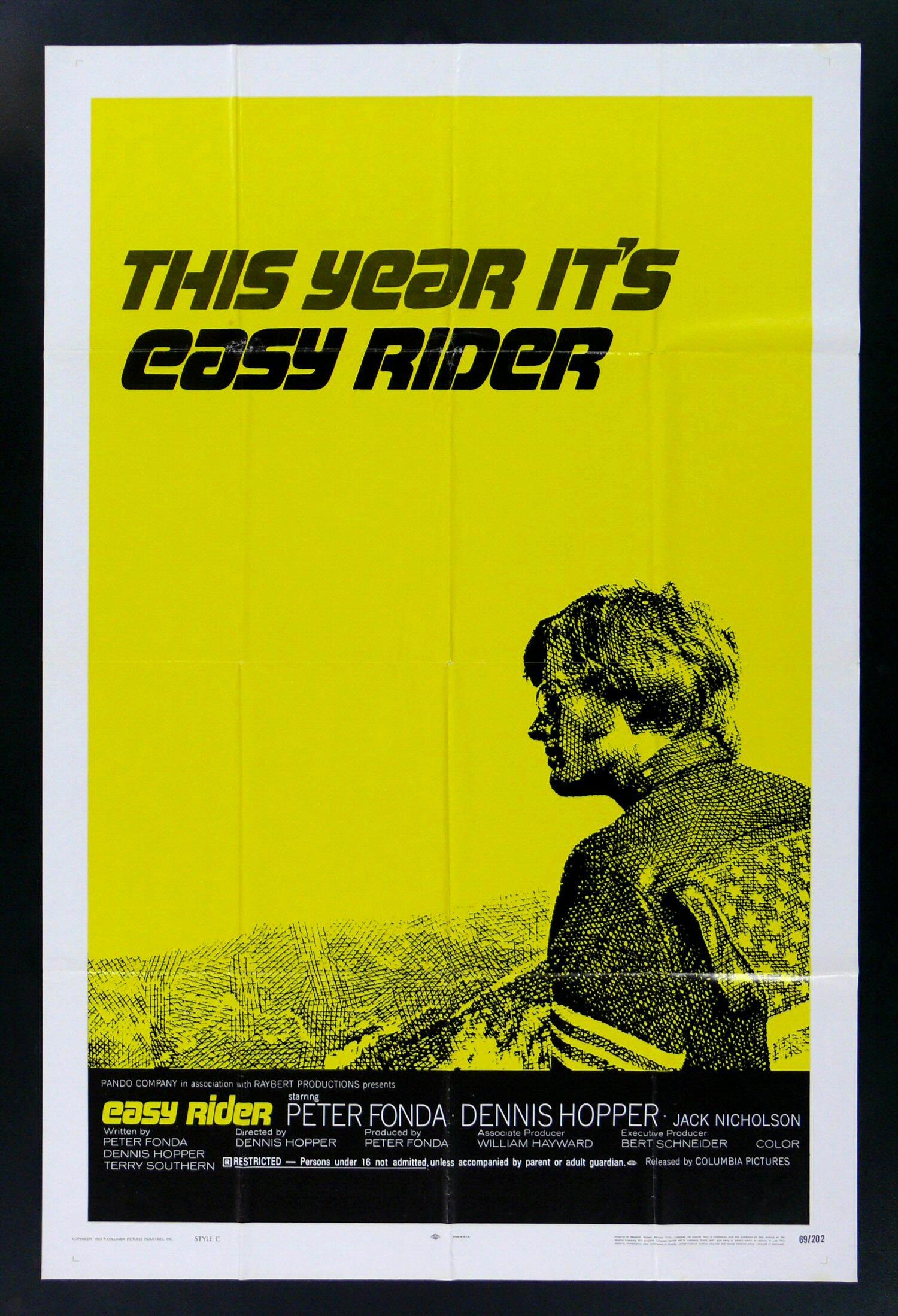 EASY RIDER * 1SH BIKER MOTORCYCLE MOVIE POSTER 1969 | eBay