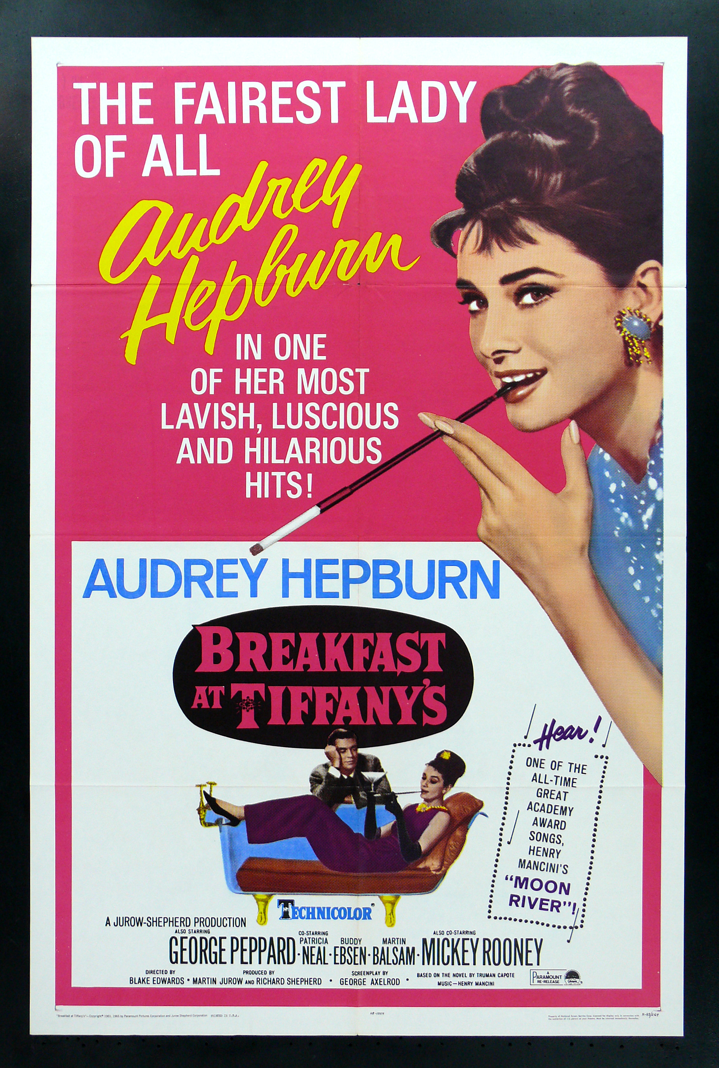 breakfast at tiffany 39 s cinemasterpieces audrey hepburn movie poster 1965r ebay. Black Bedroom Furniture Sets. Home Design Ideas