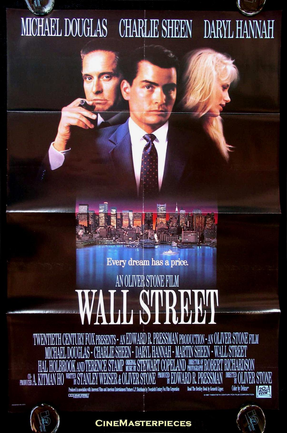 wall street 1sh orig movie poster 1987 gordon gekko ebay