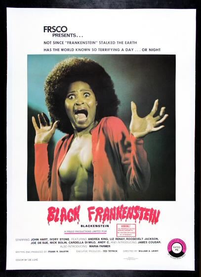 BLACK FRANKENSTEIN MOVIE POSTER So Terrifying RARE NEW