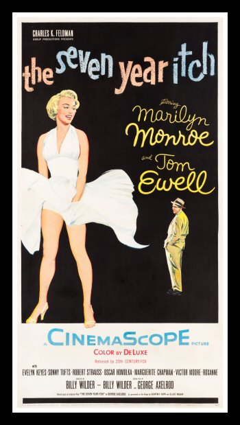 Seven year itch Old Marilyn Monroe movie Poster reproduction